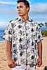 Men's Octopus Batik Island Hawaiian Short Sleeve Rayon Shirt Front