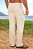 Linen yacht pant - jean style - regular fit - natural -front detail view - Island Importer