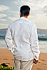 Linen safari shirt - sporty fit - elongated mandarin collar flap - white - back view - Island Importer