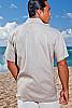Linen amalfi shirt (SS) - Italian design - Roma collar - Ash - back view - Island Importer