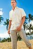 Linen amalfi shirt (SS) - Italian design - Roma collar - Ivory - front view - Island Importer