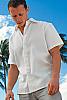 Men's Linen Short Sleeve White Italian Shirt Front