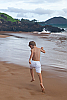 Boy's Linen Drawstring Cargo White Shorts Back