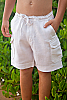 Boy's Linen Drawstring Cargo White Shorts Front