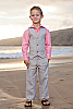 Boy's Linen Gray Vest Beach Wedding Back