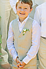 Boy's Linen Gray Vest Beach Wedding Front