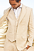 Mens Linen Natural Suit Jacket & Vest Beach Wedding