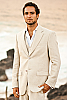 Mens Linen Natural Suit Jacket Beach Wedding Front Closed