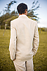 Mens Linen Natural Suit Jacket Beach Wedding Back