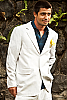 Mens Linen White Suit Jacket & Vest Beach Wedding Front