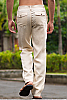 Men's Linen Natural (Khaki) Dress Pants Beach Wedding Back