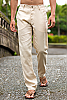 Men's Linen Natural (Khaki) Dress Pants Beach Wedding Front