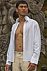 Men's Cotton White Long Sleeve Shirt Beach Wedding Open