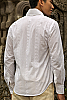 Men's Cotton White Long Sleeve Shirt Beach Wedding Weave Back