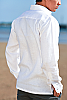 Men's Linen Hand-Stitched Design White Long Sleeve Shirt Back