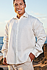 Men's Linen French Cuff White Long Sleeve Shirt Front