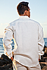 Men's Linen French Cuff White Long Sleeve Shirt Back