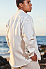 Men's Linen French Cuff White Long Sleeve Shirt Side