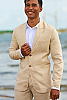 Men's Custom Linen Jacket For Beach Weddings & Grooms Natural Color