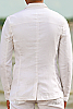 Men's Custom Linen Jacket For Beach Weddings & Grooms White Color Back View