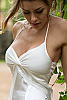 Silk chiffon halter dress - double-layer - custom order - white - close - up - Island Importer