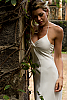 Silk chiffon halter dress - double-layer - custom order - white - close - up2 - Island Importer