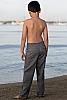 Boy's Linen Gray Dress Pants Beach Wedding Back View