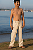 Boy's Linen Natural (Khaki) Dress Pants Beach Wedding Front