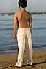 Boy's Linen Natural (Khaki) Dress Pants Beach Wedding Back