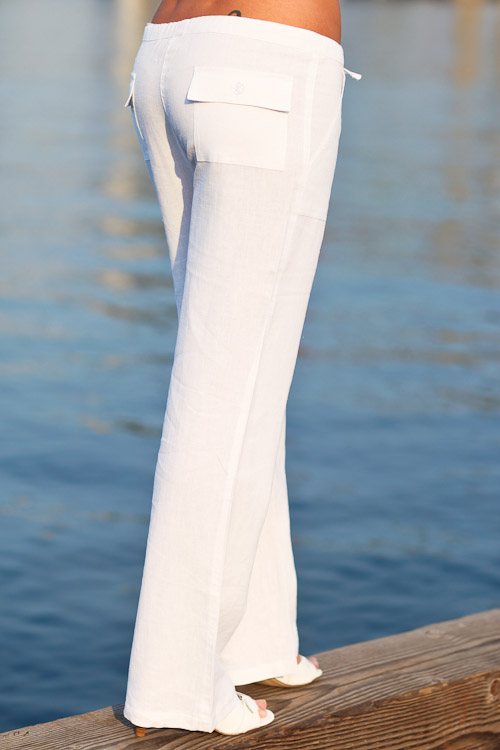 Linen Island Pants for Women, Drawstring Waist, White