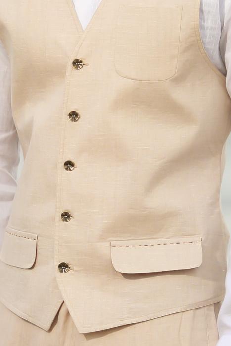 Natural Linen Cozumel Vest - Close Up