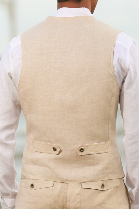 Natural Linen Cozumel Vest - Back View