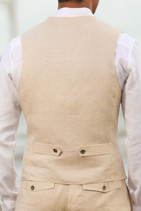 Natural Linen Cozumel Vest - Back View