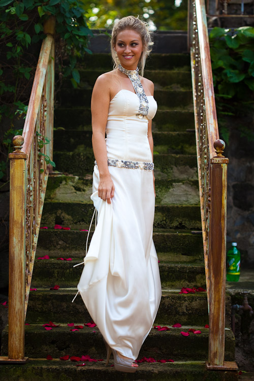 Beaded Corset Dress Sequins Beads Shells Fresh Water Pearls White Front View