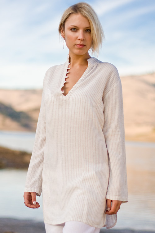 Sun Tunic - Long Sleeve, Asian Collar Swimsuit Cover-up