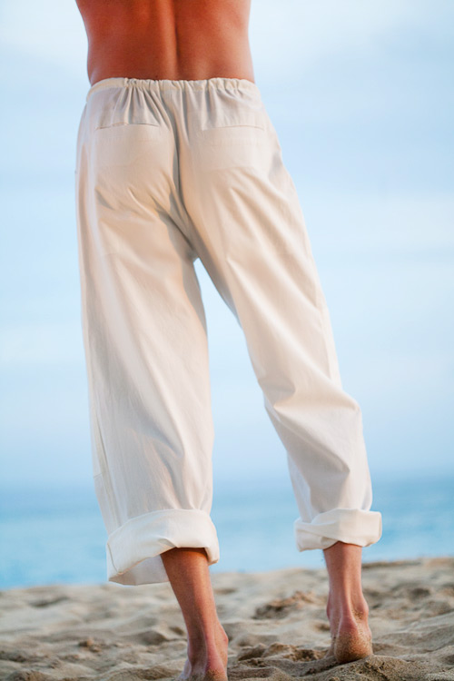 Kundalini Yoga Cotton Pants for Men, Loose-Fit, White