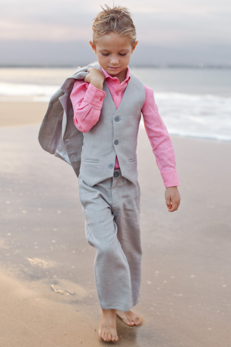 Boy S Custom Gray Linen Suit Beach Wedding Front