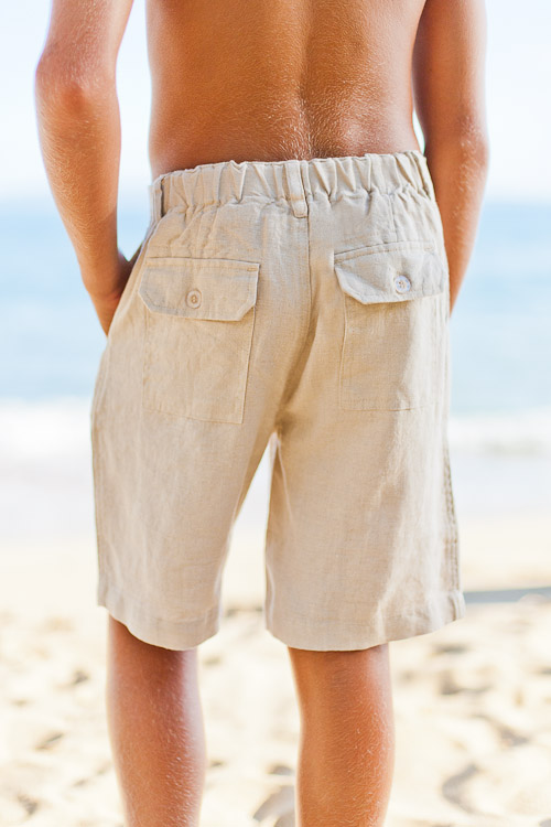 Boy's Linen Casual Beach Natural (Khaki) Shorts Back Flap Pockets