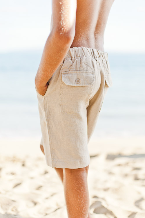 Boys' maui shorts - linen - stretch waistband - natural - back view - Island Importer