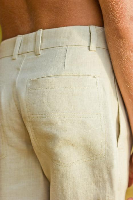 Boy's Linen Italian Pants Natural (Khaki) Beach Wedding Back-Slit Pocket