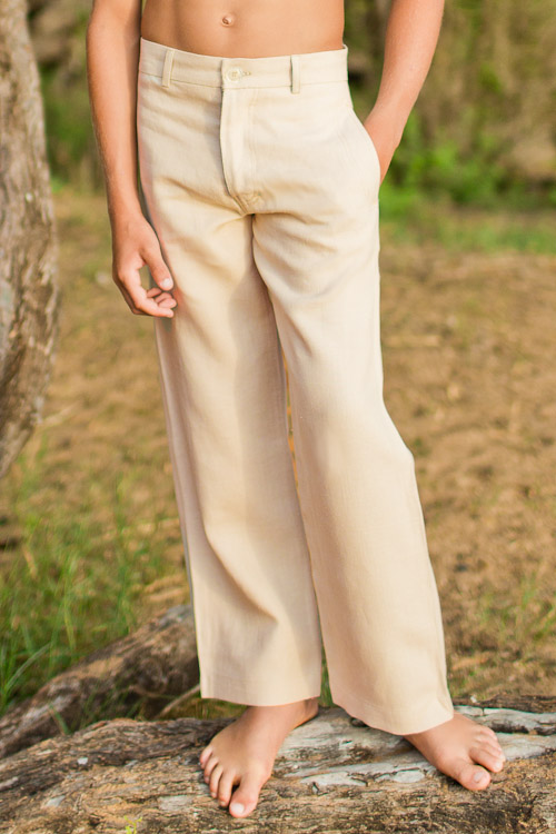 Boy's Linen Italian Pants Natural (Khaki) Beach Wedding Back