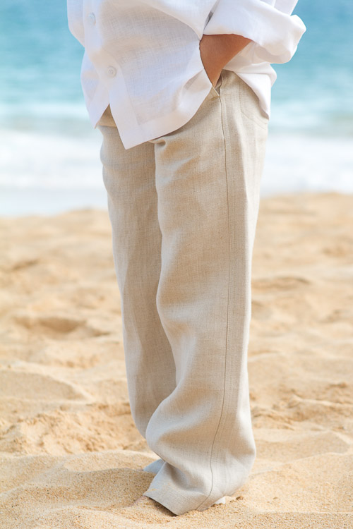 Boy's Linen Italian Pants Natural (Khaki) Beach Wedding Front