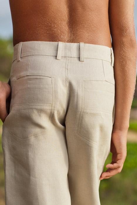 Boy's Linen Italian Pants Natural (Khaki) Beach Wedding Side