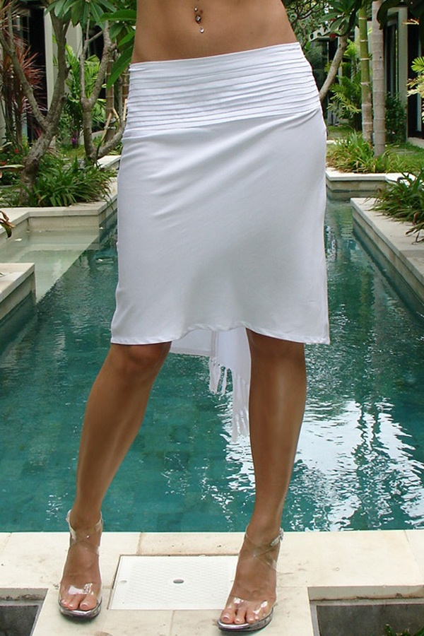 Pencil sarong skirt - bias cut - white - front view - Island Importer