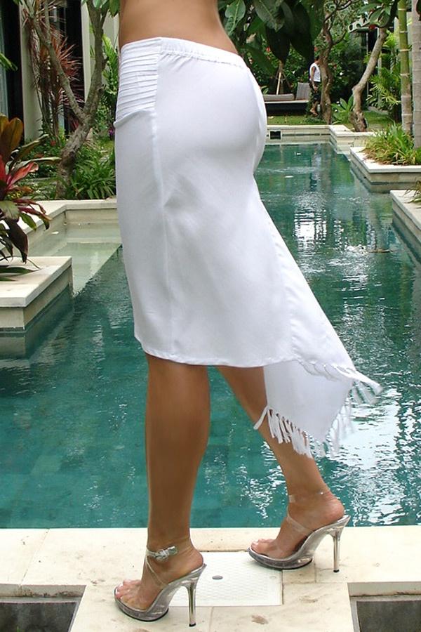 Pencil sarong skirt - bias cut - white - back view - Island Importer