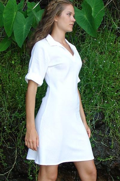 Linen tunic - bias-cut - white - side view - Island Importer