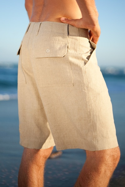 Maui shorts - linen - white - side view - Island Importer