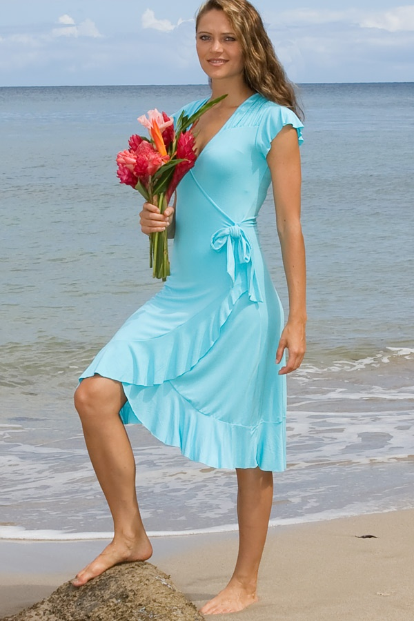 Mele dress - faux-wrap - capped-sleeves - pool - front view - Island Importer