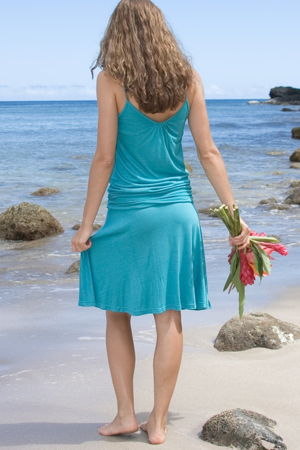 Pondok dress - light-weight - built-in bralette - mer - back view - Island Importer