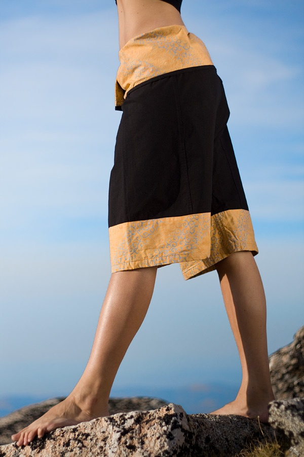 Batik fisherman yoga shorts - thai-style - black - side view - Island Importer